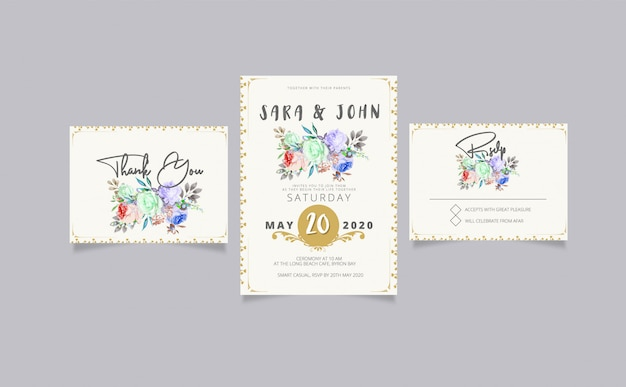 Wedding invitation with rsvp and thank you card