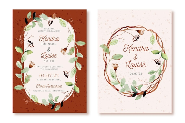 Wedding invitation with rustic leaves and branches watercolor