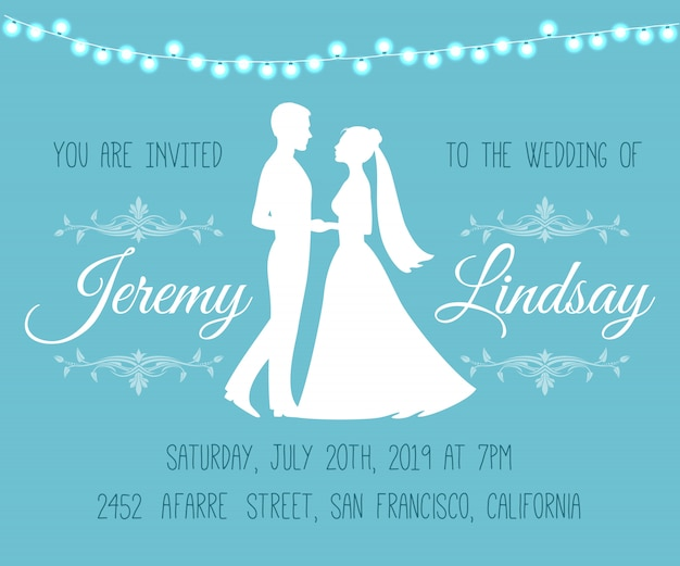 Wedding invitation with silhouettes of the bride and groom
