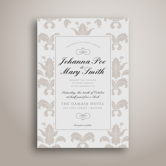 Wedding invitation with simple clean damask template