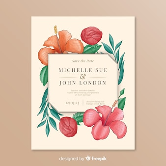 Wedding invitation with simple floral frame