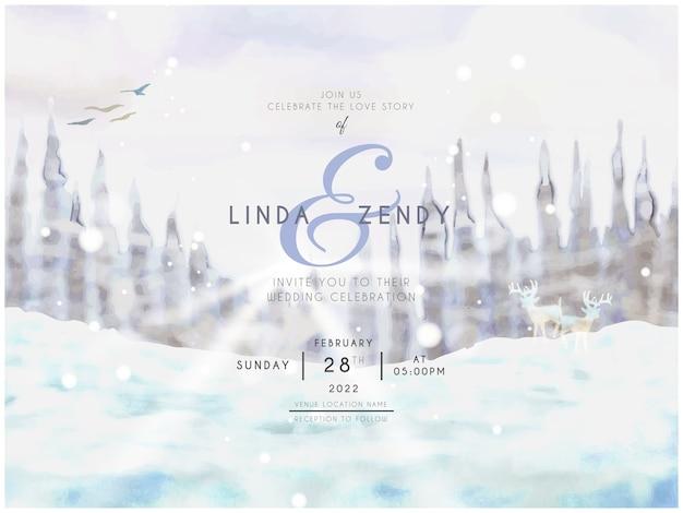 雪に覆われた風景の水彩画との結婚式の招待状