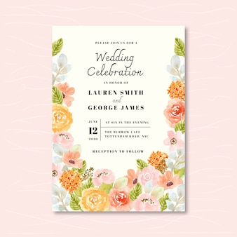 Wedding invitation with soft floral watercolor