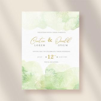 スプラッシュと花のラインアートと結婚式の招待状