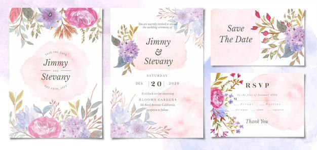 スプラッシュ花の水彩画との結婚式の招待状