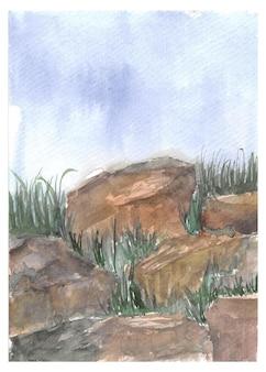 石の庭の水彩画と結婚式の招待状