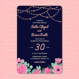 Wedding invitation with string light and floral