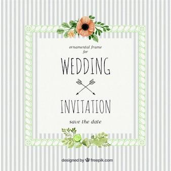 ヴィンテージスタイルでのストライプが入った結婚式の招待状