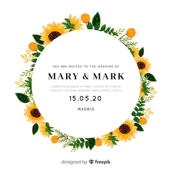 Wedding invitation with sunflowers frame