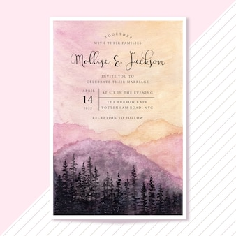 Wedding invitation with sunset landscape watercolor background