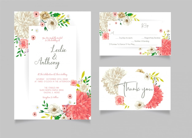 Wedding invitation with thank you card and rsvp card