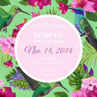 Wedding invitation with tropical flowers and hummingbird