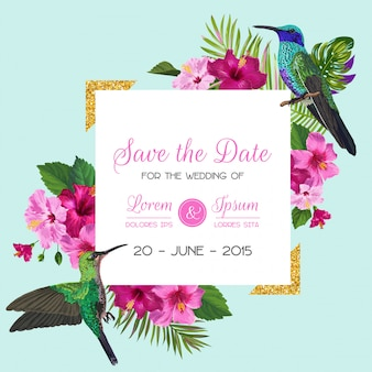 Wedding invitation with tropical flowers and hummingbirds