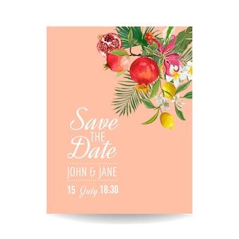 Приглашение на свадьбу с тропическими фруктами и пальмовыми листьями