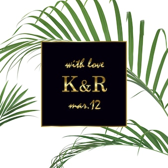 Wedding invitation with tropical leaves