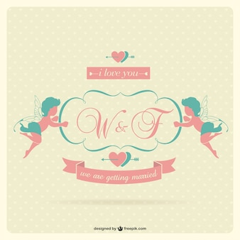 Wedding invitation with two cupids