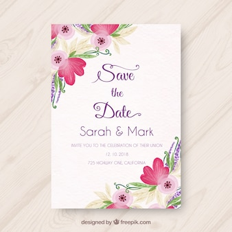 Wedding invitation with variety of watercolor flowers Free Vector