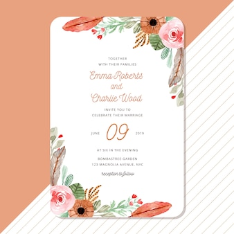 Wedding invitation with vintage watercolor floral edges