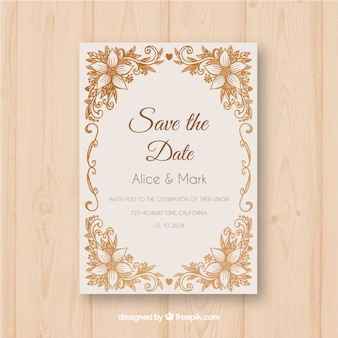 Wedding invitation with vitnage flowers