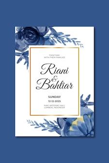 水彩の青い花と結婚式の招待状