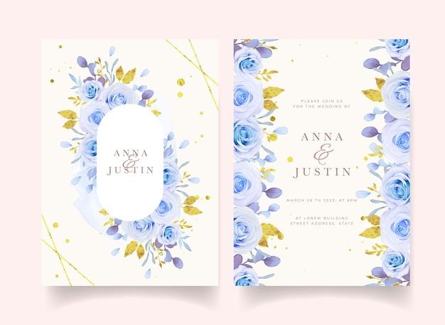 수채화 블루 장미와 청첩장