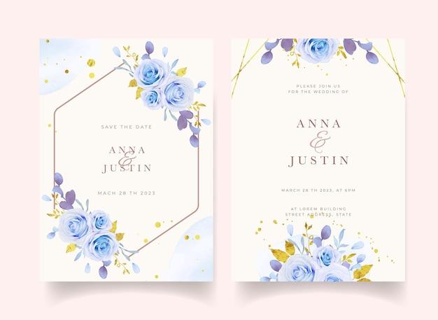 Invito a nozze con rose blu acquerellate