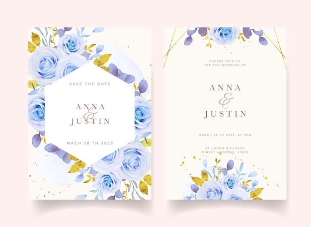 水彩の青いバラの結婚式の招待状