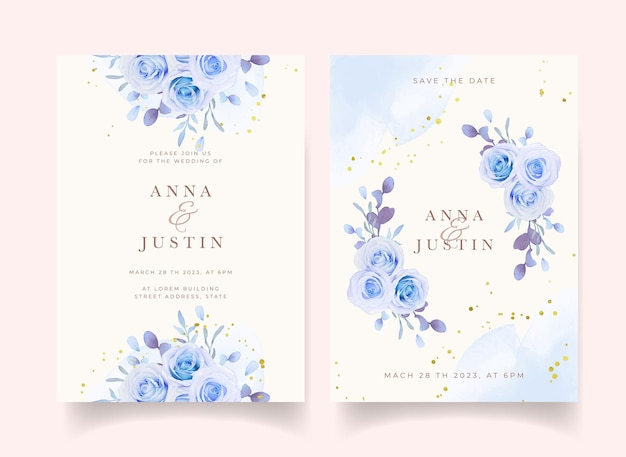 Wedding invitation with watercolor blue roses