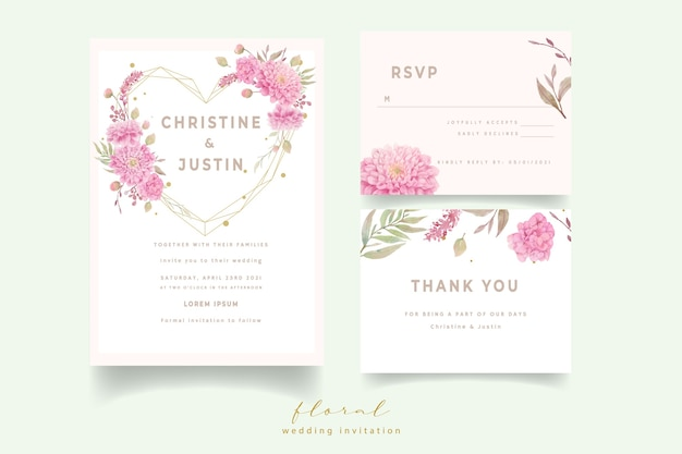 Wedding invitation with watercolor dahlias flowers