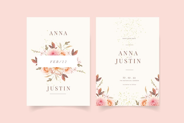 Wedding invitation with watercolor dahlias and rose