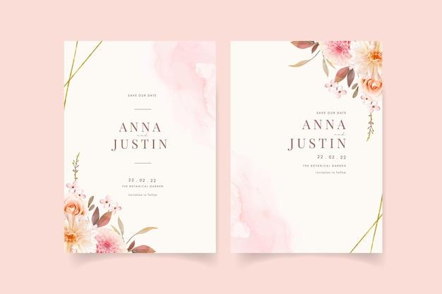 Invito a nozze con dalie dell'acquerello e rosa