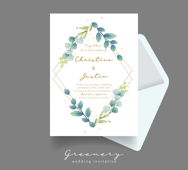 水彩ユーカリの葉の結婚式の招待状