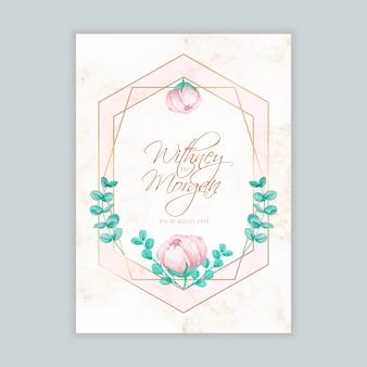 ウォーターカラーの花柄と幾何学模様の結婚式招待状