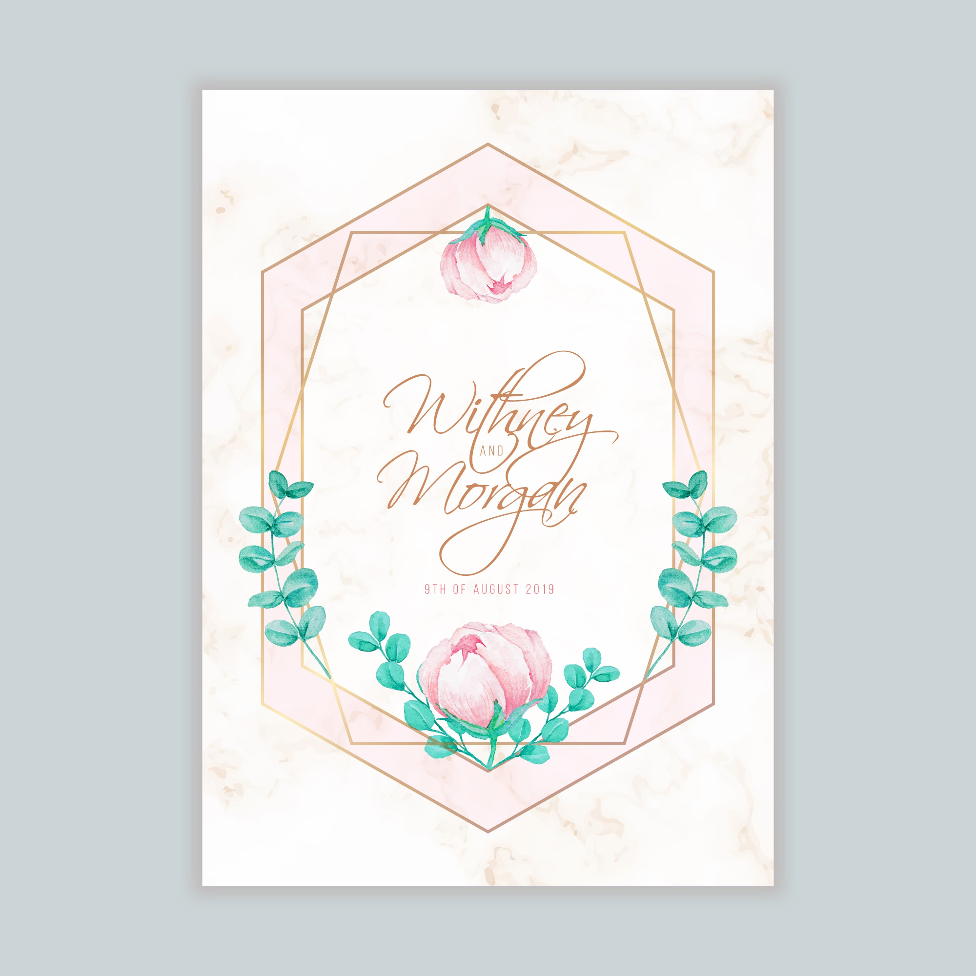 Wedding Invitation with Watercolor Floral and Geometric Frame