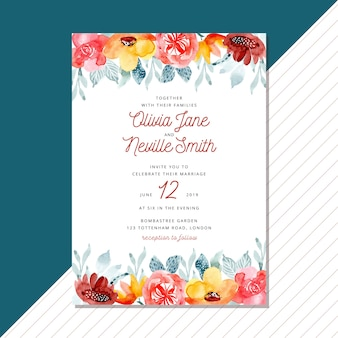 Wedding invitation with watercolor floral border