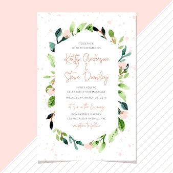 Wedding invitation with watercolor floral frame