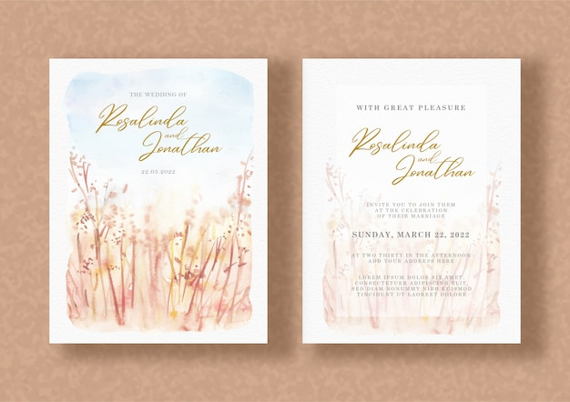 Wedding invitation with watercolor floral painting
