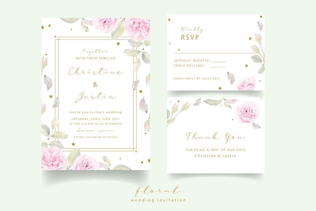 Wedding invitation with watercolor floral roses