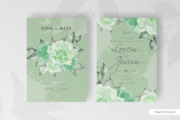 Wedding invitation   with watercolor floral and splash