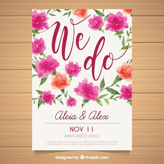 Wedding invitation with watercolor floral
