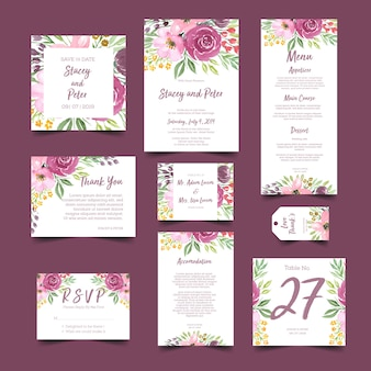 Wedding invitation with watercolor flower bouquet