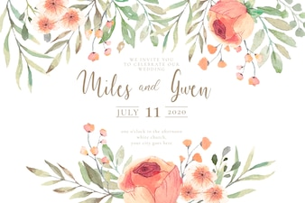 Wedding Invitation with Watercolor Flowers Ready to Print