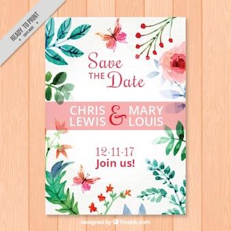 수채화 꽃 결혼 초대장