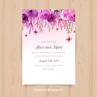 Invitation vectors photos and psd files free download wedding invitation with watercolor flowers stopboris