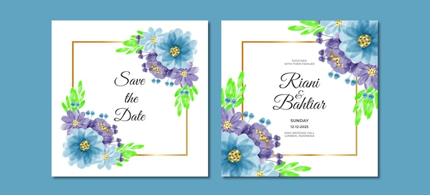 水彩花と結婚式の招待状
