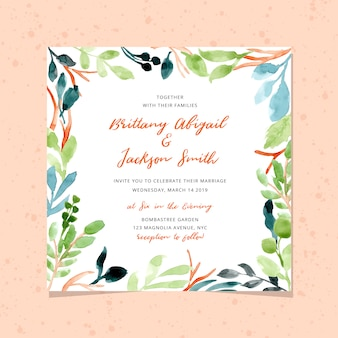 Wedding invitation with watercolor foliage frame