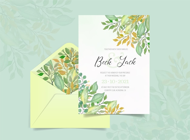 Wedding invitation with watercolor foliage