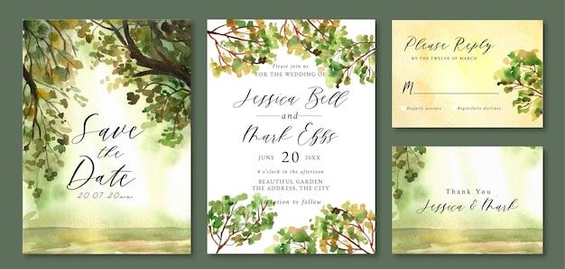 春の水彩の森のトレスと結婚式の招待状
