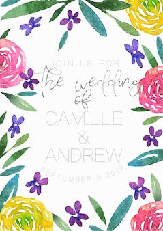 Wedding invitation with watercolor frame