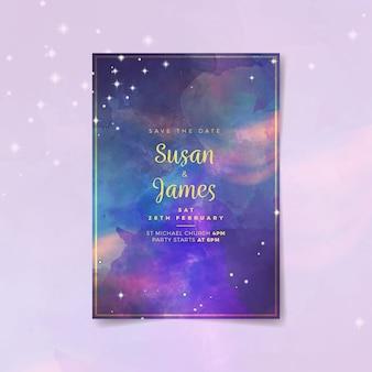 Wedding invitation with watercolor galaxy